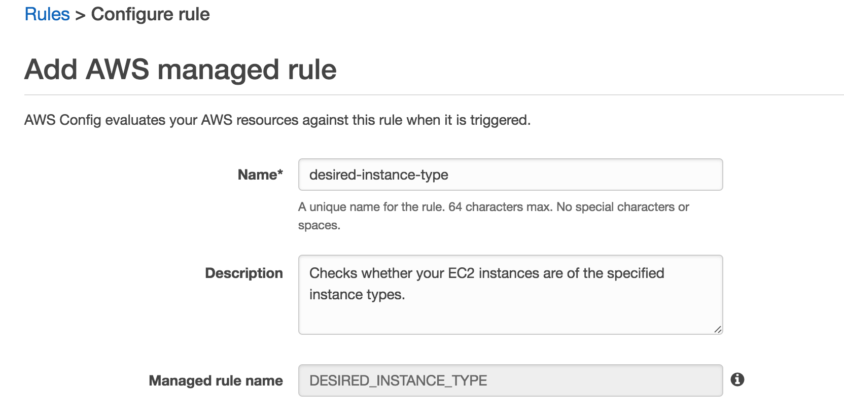 AWS Configure Managed Rule